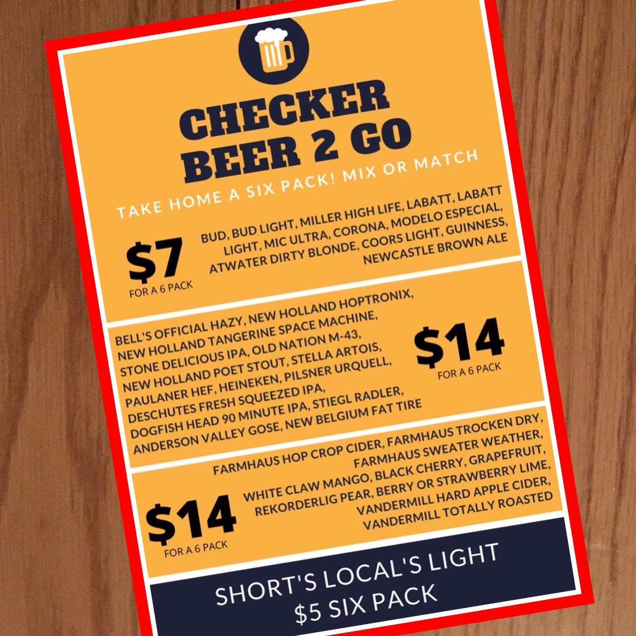 Checker Bar Beer Menu